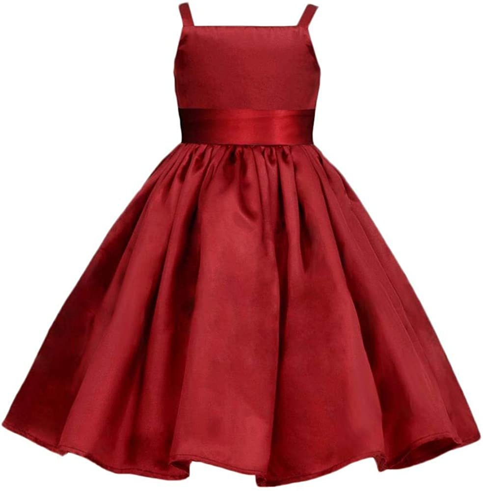 Pink Promise Apple Red Holiday Wedding Flower Girl Spaghetti Straps Dress