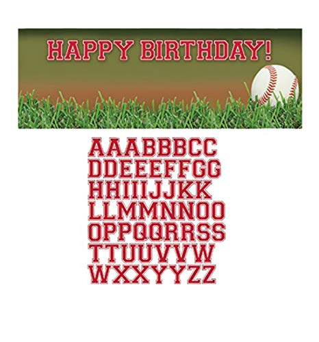 Creative Converting Sports Fanatic Baseball Giant Party Banner with Stickers, Multicolor (2-Pack) -
