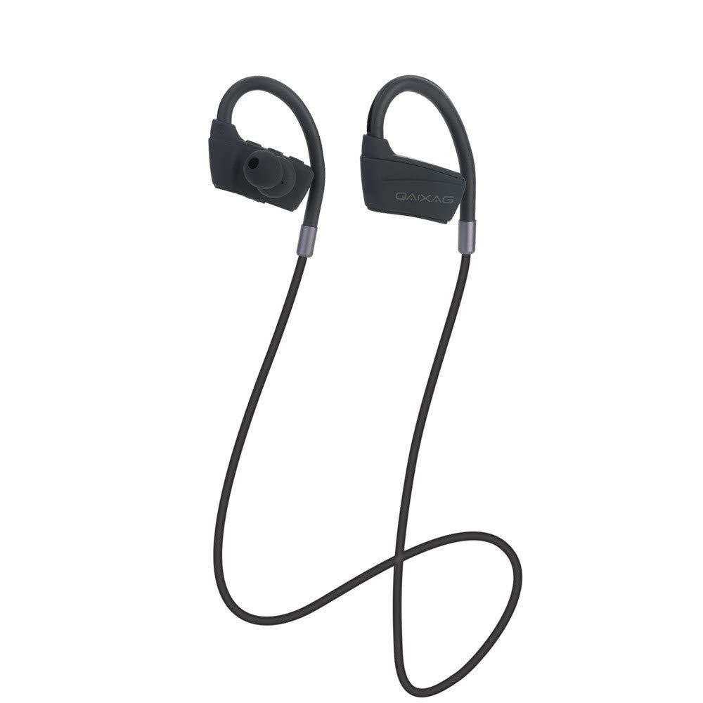 KUAW Bluetoothヘッドフォン IPX7 防水 ワイヤレススポーツイヤホン Bluetooth 4.2 HiFiバスステレオ 防汗イヤホン マイク付き ノイズキャンセリングヘッドセット トレーニング ランニング ジム用 8時間再生 ブラック KUAW_Earphone  ブラック B07RK96PT5