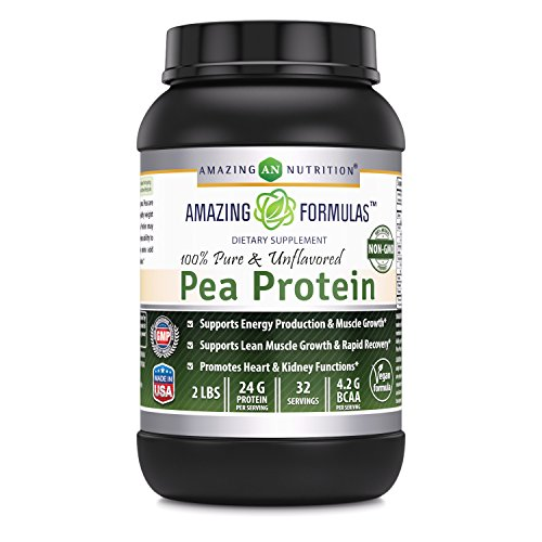 Amazing Nutrition Amazing Formulas 100% Pure & Unflavored Pea Protein Dietary Supplement - 2 lbs - Supports Energy Production and Muscle Growth - Promotes Heart and Kidney Function by Amazing Nutrition