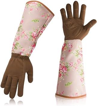 Guantes de jardinería para damas, guantes de trabajo de jardín a prueba de espinas transpirables, mangas con estampado floral Guantes con mangas largas para proteger sus brazos (1 par),Rosado: Amazon.es: Bricolaje y