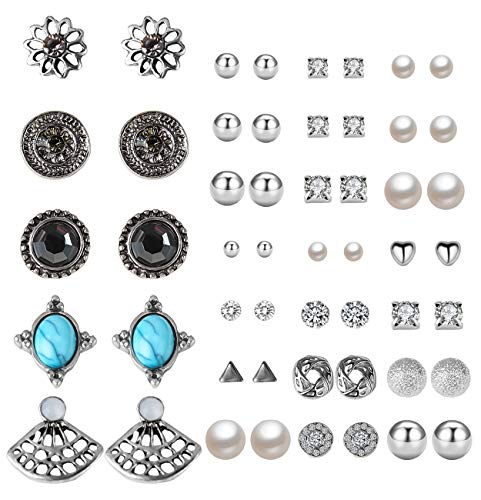 Womens Vintage Modern Jewel - Casoty 27 Pairs Stud Earrings Mixed Design Modern Style and Bohemia Retro Vintage Style Sets Card pack