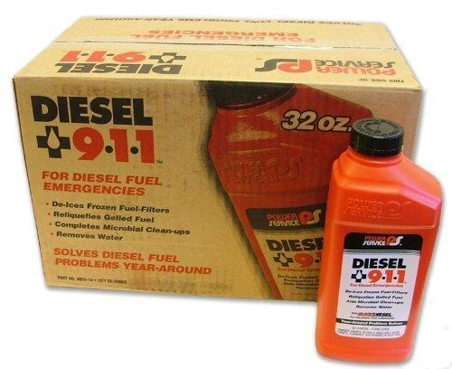 Power Service Diesel 911 32oz., Case of 12 Treats 30-75 gallons diesel fuel per Bottle
