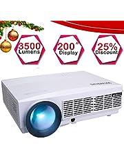Vidéoprojecteur HD, WiMiUS Vidéo Projecteur LCD 3500 Lumens Rétroprojecteur Full HD 1080P Supporte Projecteur HD Home Cinéma Projecteur LED 50000 Heures Compatible avec HDMI VGA USB AV TF (Noir)