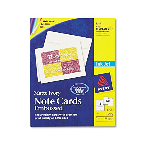 Embossed Graphics Invitations - Avery 8317 Embossed Note Cards, Inkjet, 4 1/4 x 5 1/2, Matte Ivory, 60/Pk w/Envelopes