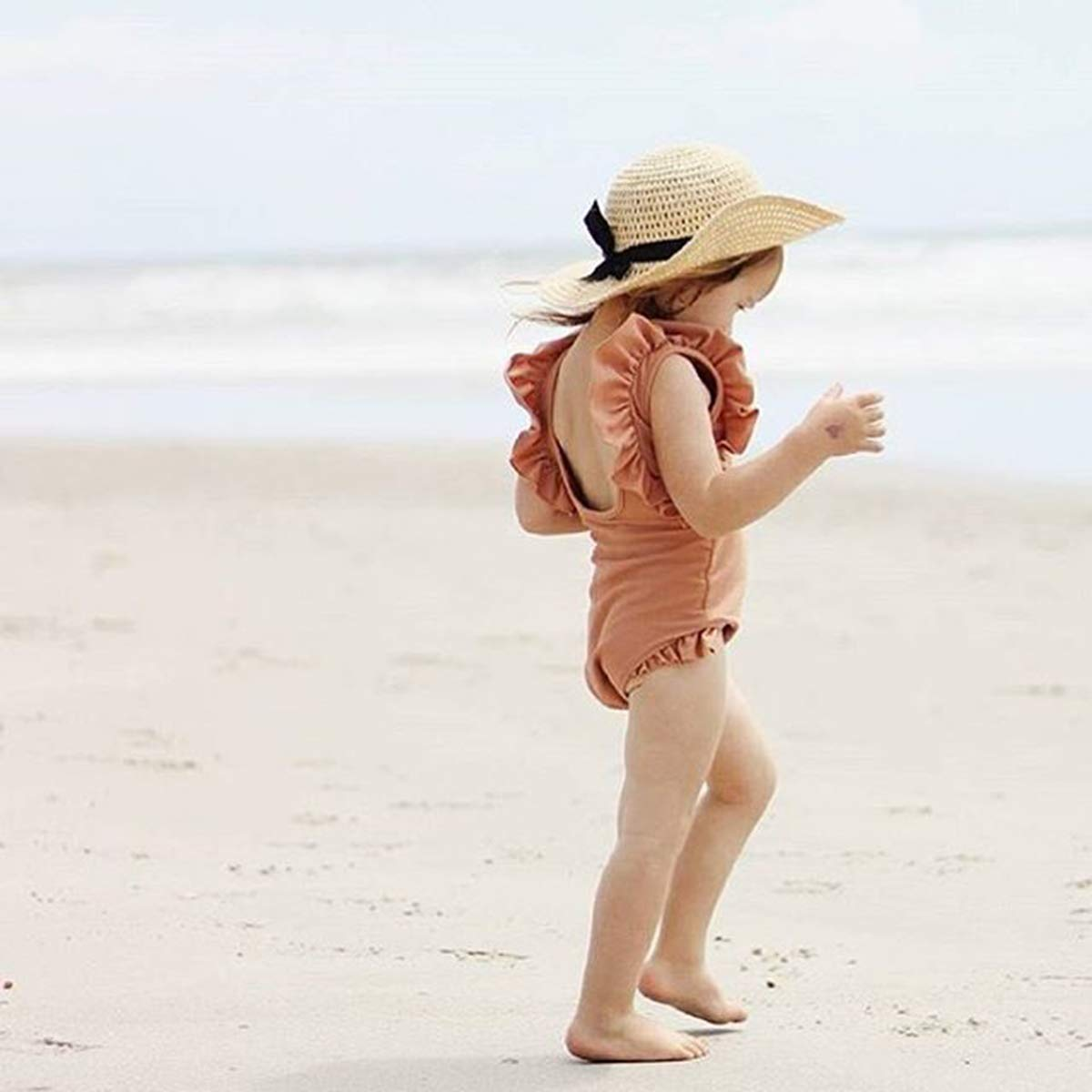 Xmasgifts Girls Ruffle Sleeve Backless Swimwear Solid One-Piece Beachwear for Kids