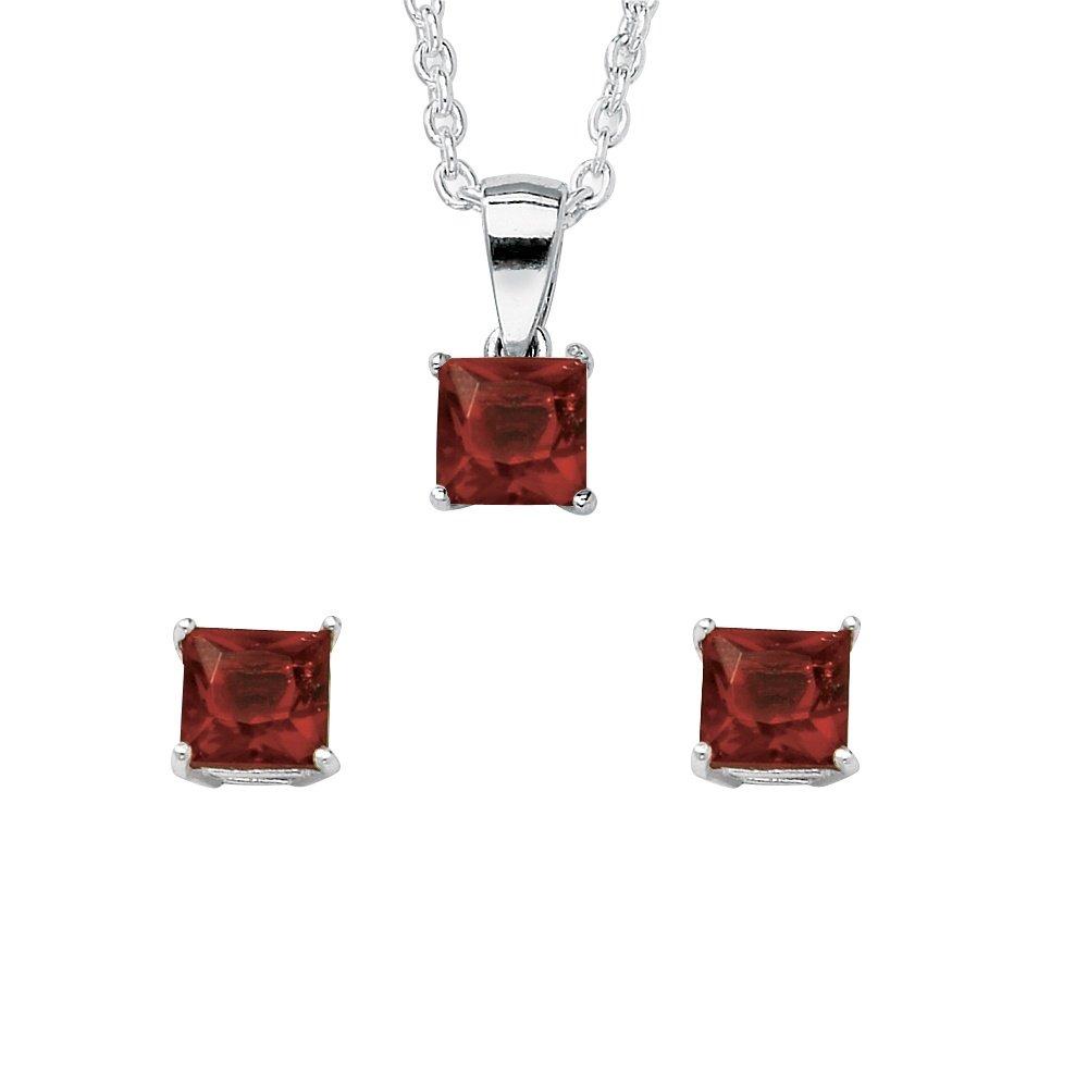 Lux Sterling Silver Princess Cut Simulated Birthstone Jewelry Set 18'' - January - Simulated Garnet