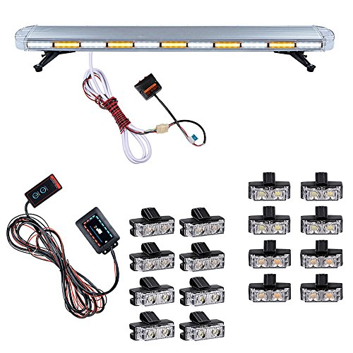 Combo AMBER WHITE 51 inch 96-LED Emergency Beacon Strobe Light Bar + 16pcs 2-LED Flashing Control Grille Strobe Light Warning Hazard Car Tow Truck Plow