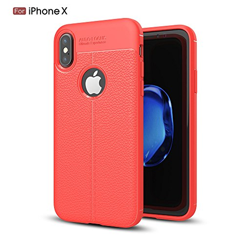(Apple iPhone X Mobile Case Beautiful Leather Texture Protective Case Series- (Red))