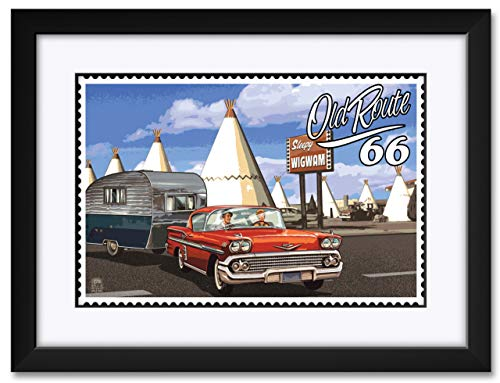 66 Chevy and Trailer Framed & Matted Art Print by Paul A. Lanquist. Print Size: 12