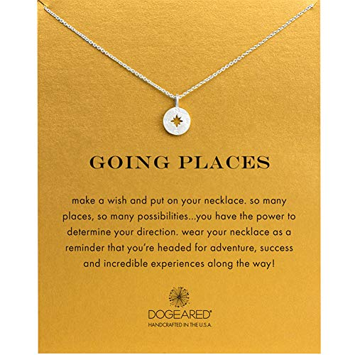 - LANG XUAN Message Card Compass Necklace Good Luck Bar Pendant Necklace for Women Jewelry