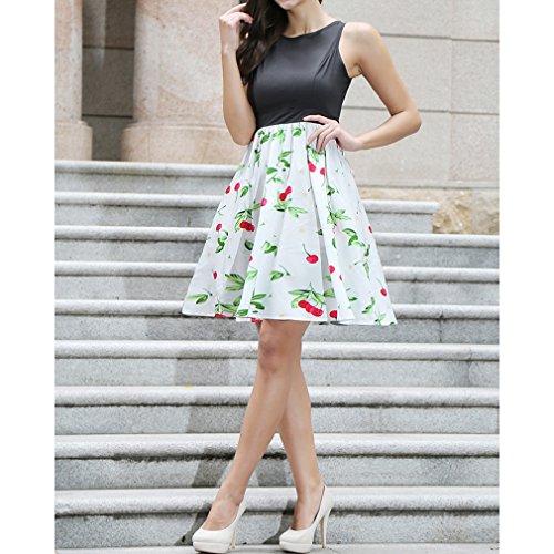Honghu Vestido Sin Mangas De Las Mujeres De Cintura por la rodilla Vestido De Impresión Verano Blanco