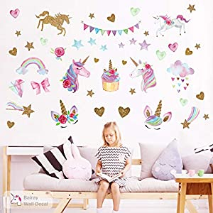Unicorn Wall Decal,66pcs Unicorn Wall Decor Stickers Decals for Kids Rooms Gifts for Girls Boys Bedroom Nursery Home