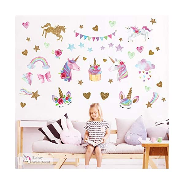 Unicorn Wall Decal,66pcs Unicorn Wall Decor Stickers Decals for Kids Rooms Gifts for Girls Boys Bedroom Nursery Home Party Favors 4