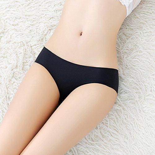YALL-Femminile basso-vita slip un pezzo di seta signore del ghiaccio della biancheria intima di colore solido, un formato, il nero
