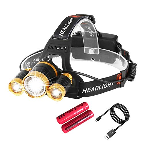 USB Rechargeable Led Headlamp Flashlight - 9000 Lumen Super Bright Waterproof Lightweight Headlamps for Running, Walking, Camping, Reading, Hiking, Outdoor Sports (Headlamp with 2 batteries)