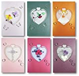 Selected Design by Translink Corporation Set of 6 - Premium Quality Assorted Heart Shape Paper Quilling Cards w/envelop - For All Occassions
