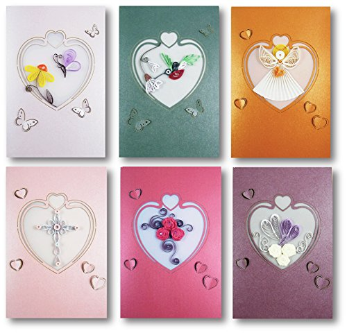 Selected Design by Translink Corporation Set of 6 - Premium Quality Assorted Heart Shape Paper Quilling Cards w/envelop - For All Occassions by Selected Design by Translink Corporation