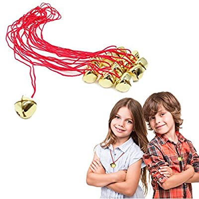 Dazzling Toys Christmas Jingle Bell Necklaces 12 Pack   Great Christmas Idea   Seasonal Novelty Gold Toned Jingle Bell Friendship Necklaces 12 Pc Set   Kids Fashion Jewelry Set of 12 Party Favors: Toys & Games
