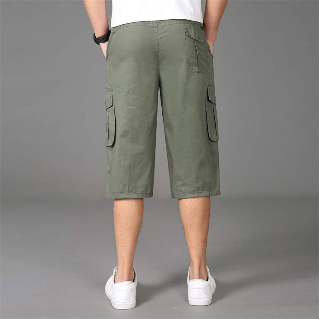 yoyorule Casual Pants Stylish Mens Seven-Point Multi-Zip Multi-Pocket Built-in Corded Cargo Shorts