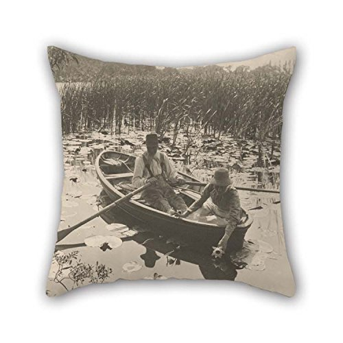 (20 X 20 Inches / 50 by 50 cm Oil Painting Peter Henry Emerson (British, Born Cuba - Gathering Water-Lilies Pillow Cases Each Side Ornament and Gift to Drawing Room)
