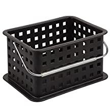 InterDesign Household Storage Basket with Handle for DVDs, Video Games and more - Small, Black