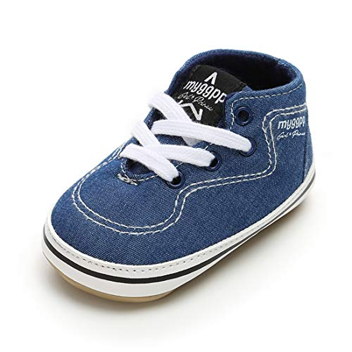 rls Shoes Canvas Toddler Sneakers Anti-Slip Infant First Walkers 0-18 Months (12cm (6-12months), 6-Blue) ()