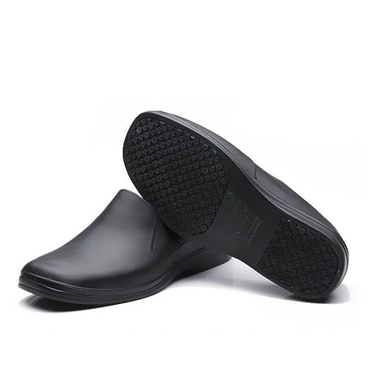 EASTSURE Men Work Loafers Slip Resistant Kitchen Shoes Black For Nurse  Chef,US 10 D
