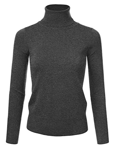 Turtleneck Ribbed Womens - NINEXIS Women's Basic Long Sleeve Soft Turtle Neck Sweater Top Charcoal M