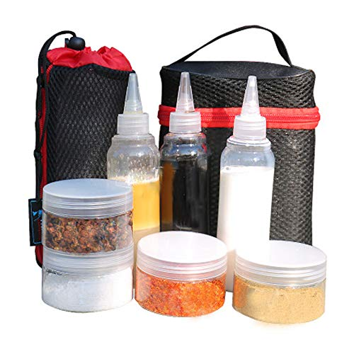 Portable Spice Jars Sauce Condiment Bottles Containers for BBQ Camping Outdoor with Organize Carry Storage Bag, Clear plastic, Set of 7 Packs