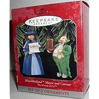 1997 Hallmark Ornament El mago de Oz Munchkinland Mayor And Coroner Set de 2 adornos