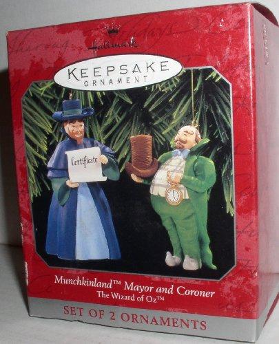 1997 Hallmark Ornament The Wizard of Oz Munchkinland Mayor And Coroner Set of 2 Ornaments (Wizard Of Oz Mayor)