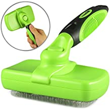 Comsun Self Cleaning Slicker Brush, Professional Dog Comb with Retractable Bristles, Cat Grooming Brush, Pet Detangling Comb, for Long and Medium Hair Breeds
