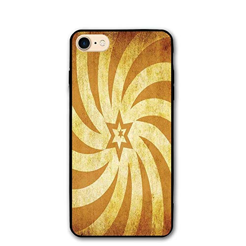 Haixia iPhone 7/8 Phone Case 4.7 inch Burnt Orange Spiral Twisty Lines Look Like Sun Rays Around A Centered Star Stained Radiant Tan Golden