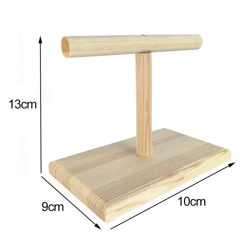 Lai-LYQ Portable Wood Bird Parrot Training Spin Perch Stand Playground Platform Toy Wood Color