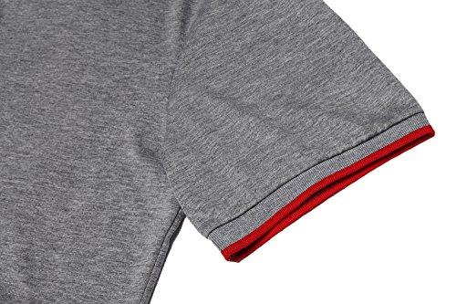 Zuckerfan Men's Polo Casual Slim Fit Short Sleeve Polo Shirts(Grey,L) by Zuckerfan (Image #5)
