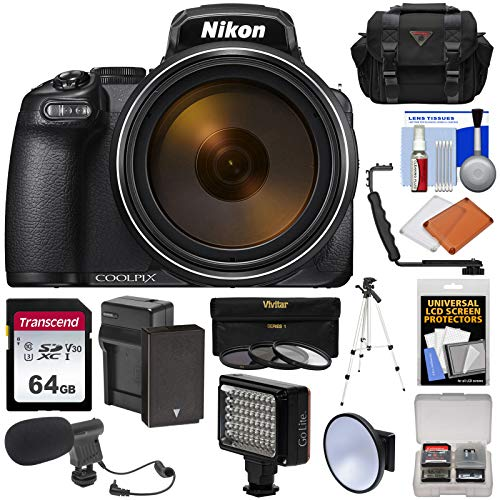 Nikon Coolpix P1000 4K 125x Super Zoom Digital Camera with 64GB Card + Battery & Charger + Case + Tripod + LED Video Light & Flash + Mic - Movie Camcorder Pix