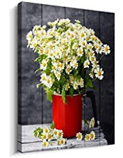Black and white Canvas Wall Art for kitchen Office Bathroom wall decor Modern Floral Canvas Pictures Artwork Daisy Flower Vase Wood grain Canvas Art Print Home decoration Ready to Hang
