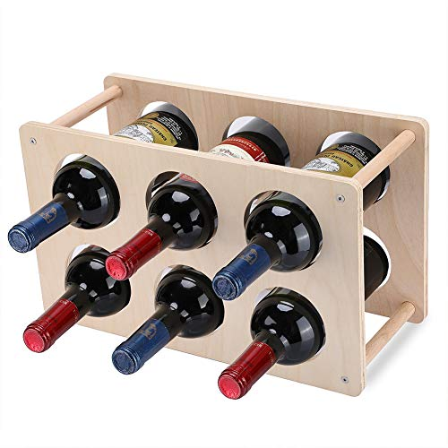 Lisuu 2-Tier Wine Storage Rack - Rustic Wood Wine Rack Bottles - Perfect for Bar, Wine Cellar, Basement, Cabinet, Pantry, etc, Stackable Wine Rack Hold 6 Bottles, Red/White Wine Whiskey Wine Storage