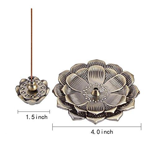 UOON Bronze Lotus Flower Incense Stick Burner Holder Ash Catcher