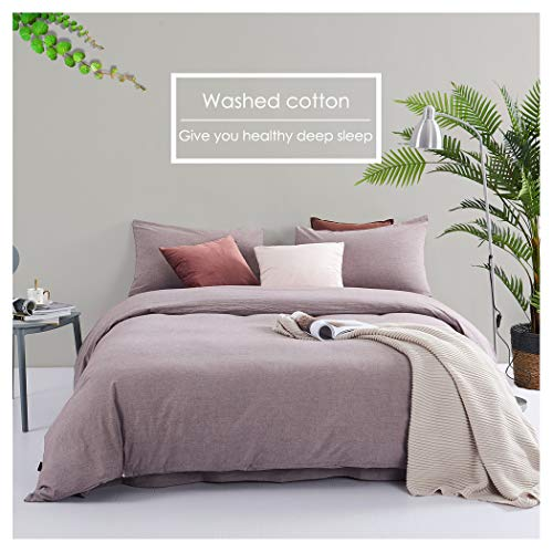 (Taiyihome 3-Piece Duvet Cover Set,100% Washed Cotton(Purple Bean, Queen))