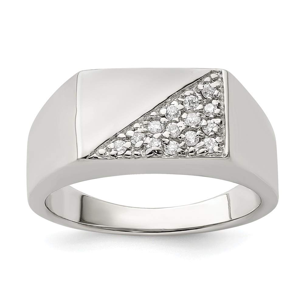 FB Jewels Solid Sterling Silver Mens CZ Cubic Zirconia Ring