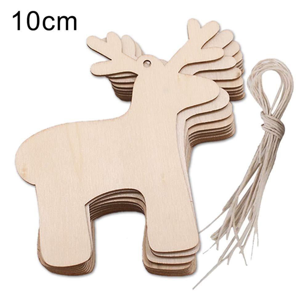 Christmas Tree Decorations, Jchen(TM) Happy Year Christmas Decor 10pcs Wooden Pendant Christmas Decorations Children's Home Decoration Gifts (A)