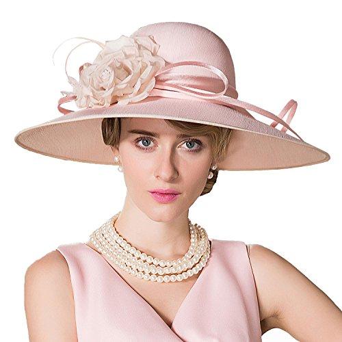 HomArt Women's Silks and Satins Wide Brim Sun Hat Triple Crown Hat with Silk Flower, Pink by HomArt