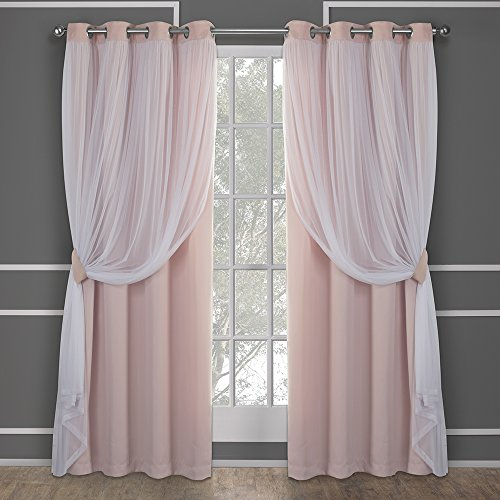Exclusive Home Catarina Layered Solid Blackout and Sheer Window Curtain Panel Pair with Grommet Top, Rose Blush, 52x84, 2 Piece - Exclusive Roses