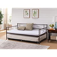 Kings Brand Ewen Pewter Metal Twin Size Daybed Frame with Pop Up Trundle Bed