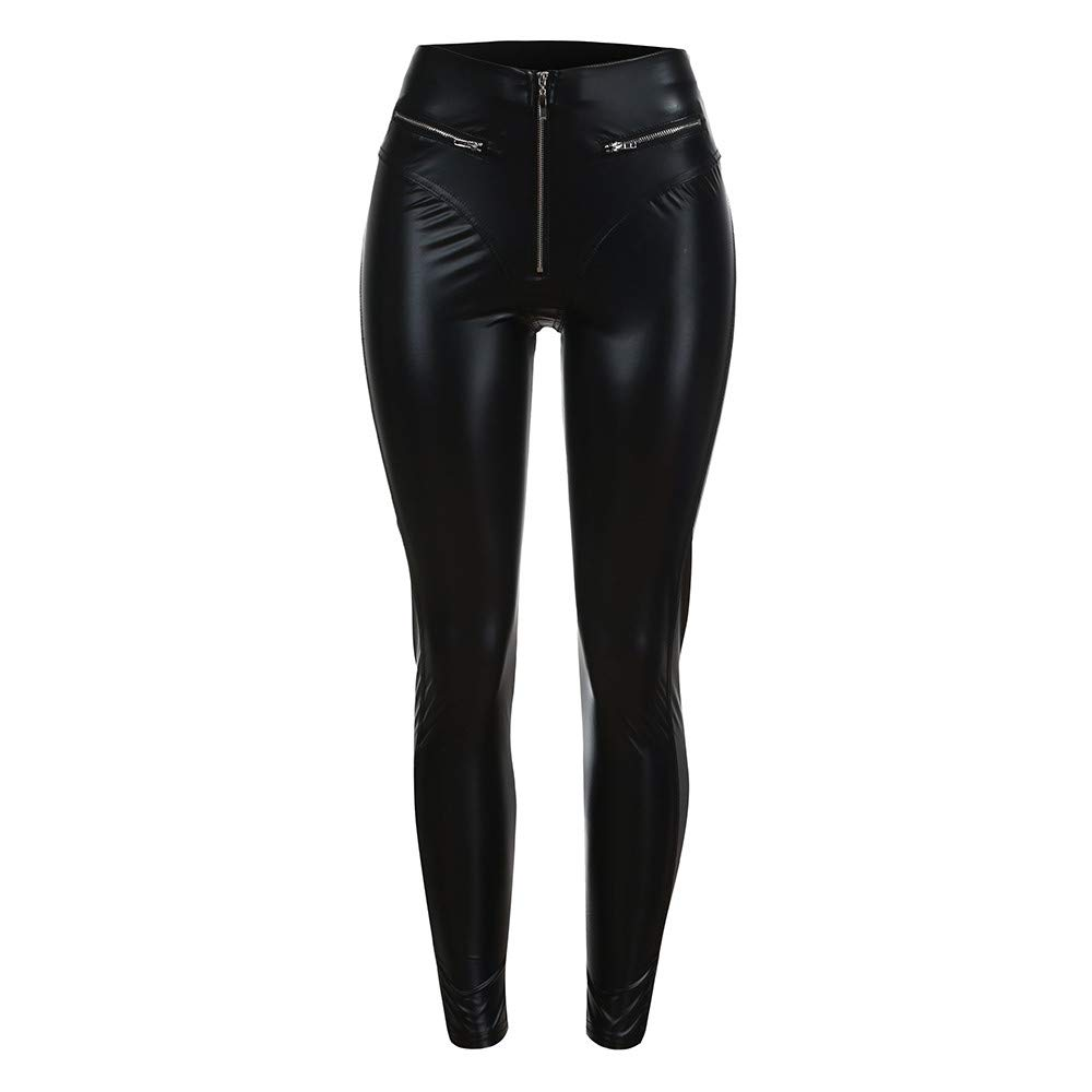 Womens Black Faux Leather Legging with Zipper High Waisted Tights Workout Capris Yoga Pants Leggings Pocket (M, Black)