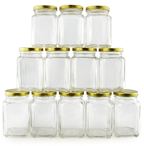 8-Ounce Victorian Glass Jars (12-Pack); Square Retro-Style Jars w/ Gold Lids for Spices, Gifts & More