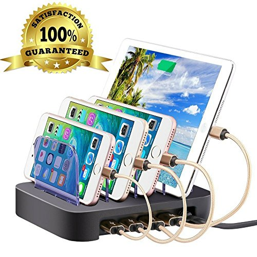 4 Port Charging Station Cell Phone Charging Hub Charger Dock Station Organizer Quick Charge Multi Phone Desktop Charging Station for Multiple Devices Iphone Ipad Kindle Tablet by FineLine Express by FineLine Express