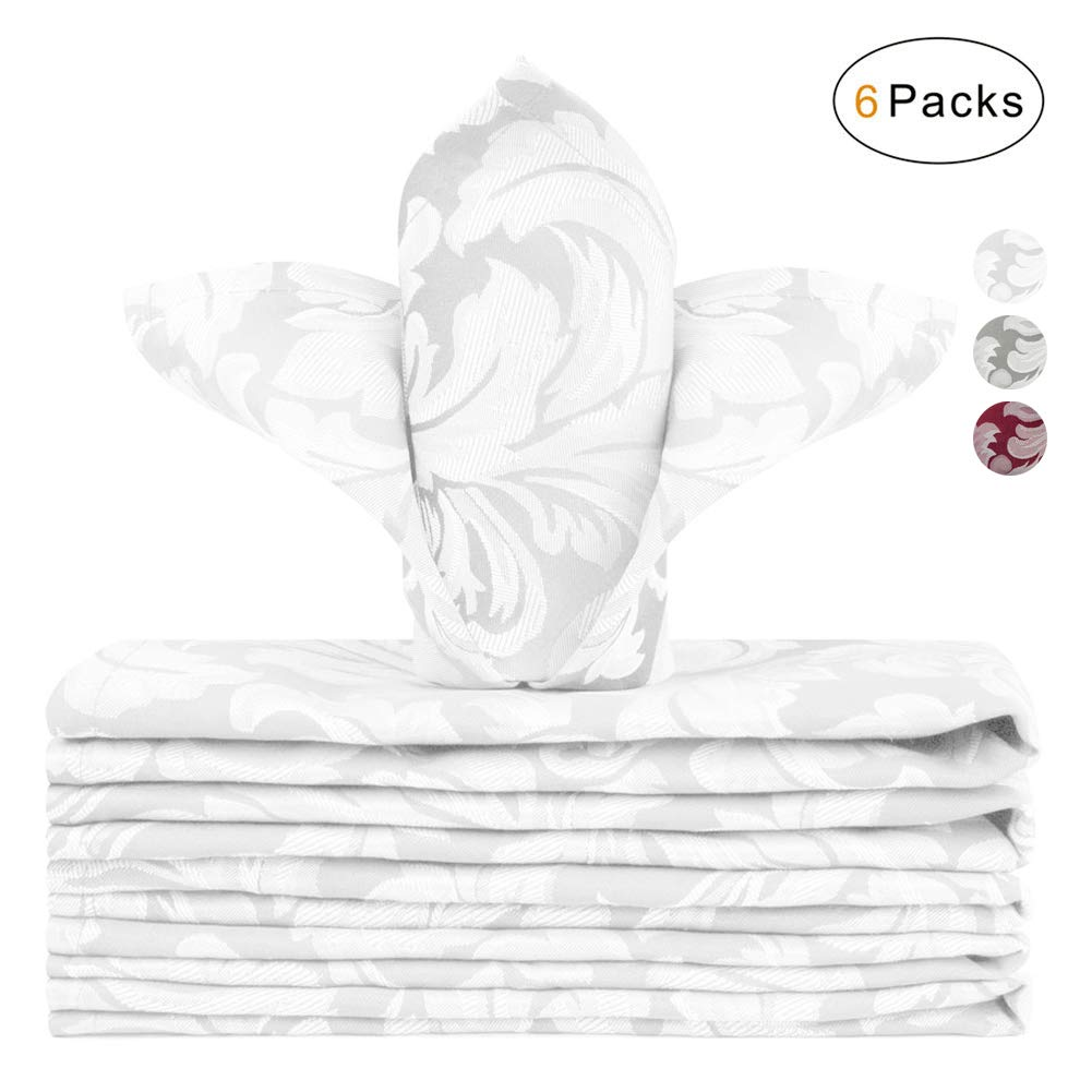 Holiday Dinner Parties VCVCOO Cloth Napkins 17 x 17 Inch Jacquard Floral Polyester Dinner Napkins Washable,Elegant Table Napkins with Hemmed Edges Great for Weddings Pearl White, 6